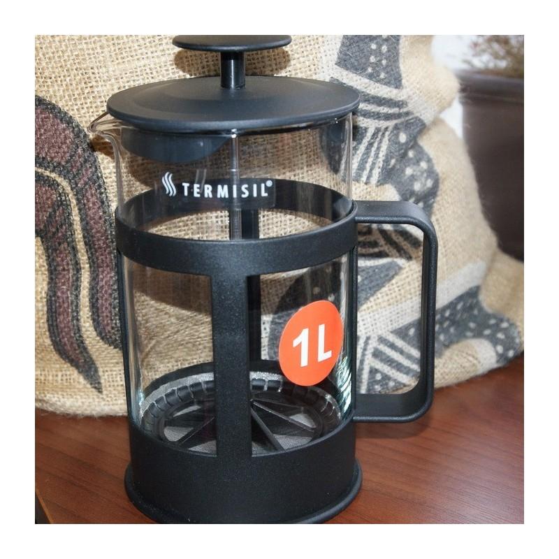 Zaparzacz do kawy, herbaty lub ziół o pojemności 1 l (tzw. praska francuska) z uchem plastikowym